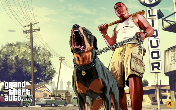 Artwork Franklin e Chop do GTA V