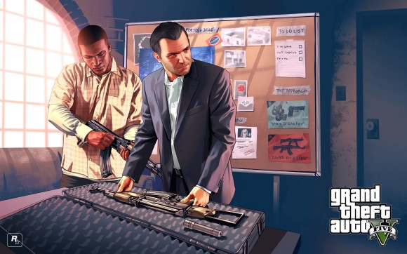 Artwork Franklin e Michael com armas no GTA v