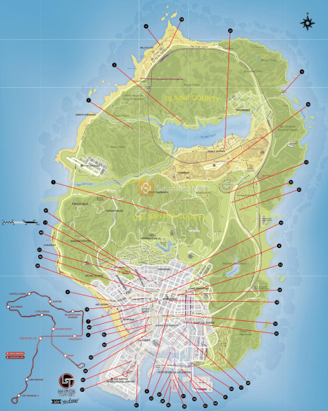 Mapa de saltos unicos do GTA V