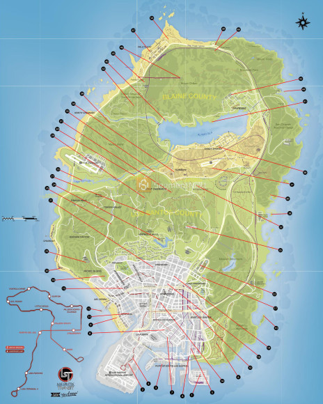 Mapa de fragmentos de cartas do GTA V