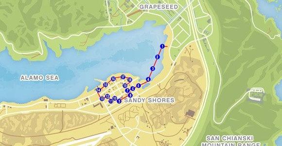 Mapa Triatlo Mar Alamo GTA V