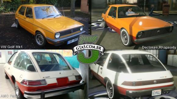 Comparativo Declasse Rapsody e VW Golf Mk1 GTA V