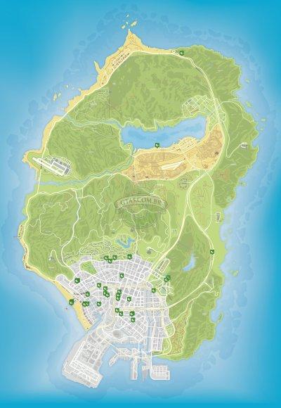 Mapa de comida fastfood e restaurantes do GTA 5