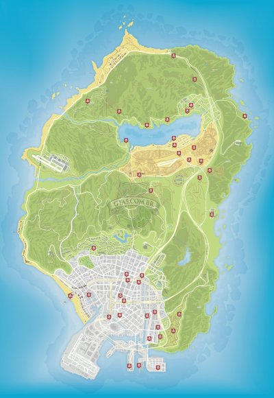 Mapa de missoes de ataques de gangues do GTA 5