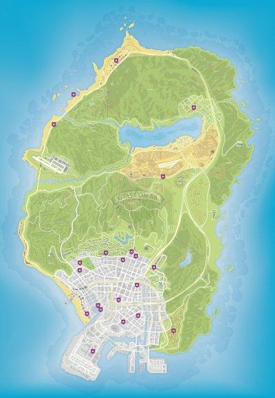 Mapa de propriedades a venda no GTA 5