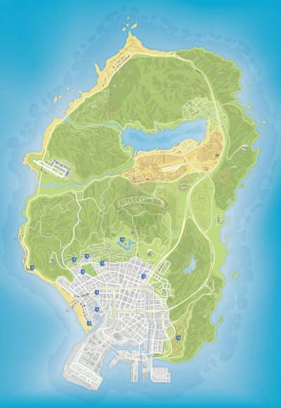 Mapa de quadras de tenis do GTA 5